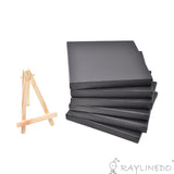 6pcs Mini Artist Black Canvas Frame 6x6inch ( 15x15cm ) Oil Water Painting Board Flat Canvas with 1pc Mini Wood Display Easel - Raylinedo