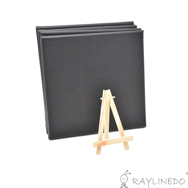 4pcs Mini Artist Black Canvas Frame 8x8inch ( 20x20cm ) Oil Water Painting Board Flat Canvas with 1pc Mini Wood Display Easel - Raylinedo