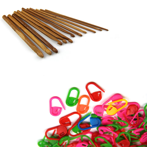 12pcs Bamboo Handle Crochet Hook Knit Craft Needle Weave Yarn Craft Knitting In Deferent Sizes(3mm-10mm) with 20PCS Knitting Crochet Locking Stitch Markers - Raylinedo