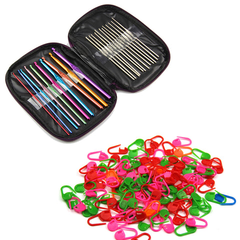 22pcs Mixed Aluminum Handle Crochet Hooks Needles Yarn Weave Knit Craft Set with 20PCS Knitting Crochet Locking Stitch Markers - Raylinedo