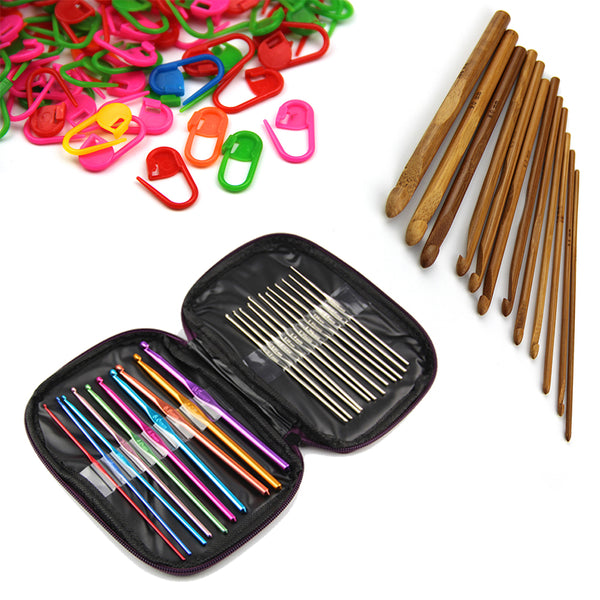 22pcs Mixed Aluminum Handle+ 12pcs Bamboo Handle Crochet Hooks Needles Yarn Weave Knit Craft Set with 20PCS Knitting Crochet Locking Stitch Markers - Raylinedo