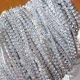 3A Class 4mm Clear Rhinestone Diamante Silver Plated Chain 10 Yard Lenght for Wedding Supplies DIY Sewing Craft Jewellery Making Party Decorations - Raylinedo