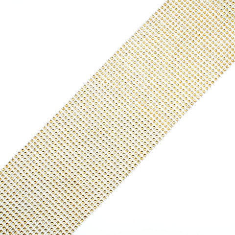 24 Row Golden Acrylic Rhinestone Diamond Mesh Wrap Roll 10 Yards Cake Ribbon Banding Party Decorations Hanging Wedding Supplies - Raylinedo