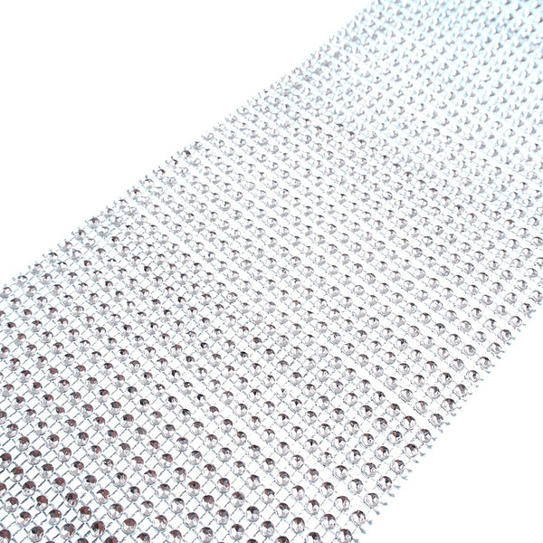 24 Row Silver Acrylic Rhinestone Diamond Mesh Wrap Roll 10 Yards Cake Ribbon Banding Party Decorations Hanging Wedding Supplies - Raylinedo