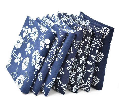 "7X Different Blue Pattern Chinese Han Folk Traditional Printed Craft Pure Cotton Fabric Fat Quarter Bundle 46 x 56cm ( Appox 18"" x 22"") Patchwork Quilting Fabric - Raylinedo"
