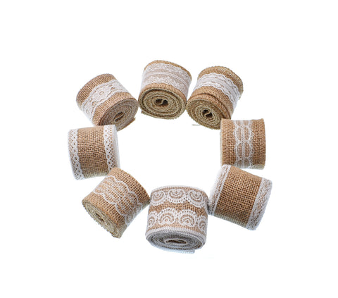 8Pcs Natural Burlap Ribbon Rolls With White Laces for Diy Handmade Christmas Gift Wedding Packaging Crafts Lace Linen Decoration Craft - Raylinedo