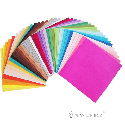 40X Different Assorted Colours Felt Fabric Nonwoven Sheet Patchwork Squares 30*30cm Quilting Scrapbooking Artcraft Project Material - Raylinedo