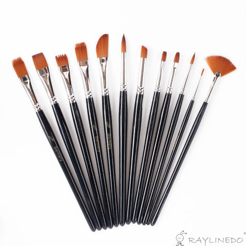 12 Pcs Multifunctional Nylon Paint Brushes Artist Paint Brushes Set Art Painting Supplies for Acrylic Watercolor Oil Painting - Raylinedo