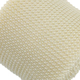 24 Rows Ivory Artificial Pearl Mesh Ribbon Roll Wedding Party Home Decor DIY Wrap Ribbons 4.5 Inches Wide - 10 Yard - Raylinedo