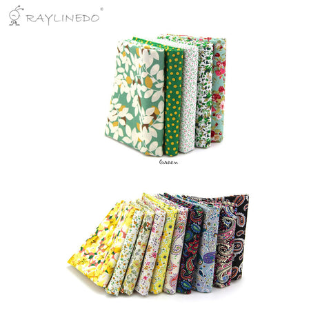 "15 Pcs Different Pattern Multi Color 100% Cotton Poplin Fabric Fat Quarter Bundle 18"" x 22"" Patchwork Quilting Fabric Yellow Green and Paisley Series - Raylinedo"