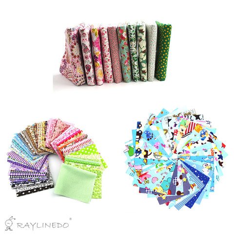 "10Pc Different Pattern Multi Color Cotton Poplin Fabric Fat Quarter Bundle 18"" x 22"" Patchwork Quilting Fabric With 30pc 10*10cm Blue Series and 15pc 20*25cm Mixed Squares Bundle Fabric - Raylinedo"