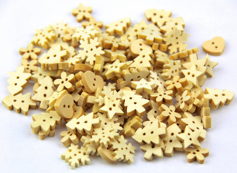 100pcs log color and shapes 2 holes Wood Buttons(12-15MM) package for Sewing Scrapbooking. - Raylinedo