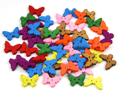 50 Wooden Buttons, Multicolour Butterfly 18mm x 24mm  Button  Craft, Sewing, DIY - Raylinedo