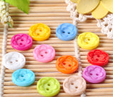 60 Pieces/pack 13mm Mixed Colours round Shape 2 holes Plastic Buttons - Raylinedo