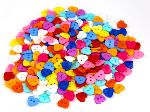 60 x Mixed Colours 2 Hole Heart 15mm Sew Craft Plastic DIY Buttons - Raylinedo