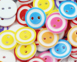 50Pcs Mixed Bright Candy Circle Color 2 Holes 4 Holes Crafting Sewing DIY Buttons-12mm - Raylinedo