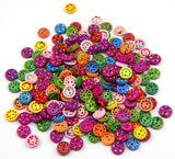 15 Pieces/pack 15mm Mixed Colours round Shape 2 holes Wooden Buttons - Raylinedo