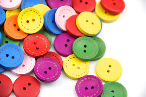 20 Pieces/pack 20mm Mixed Colours round Shape 2 holes Wooden Buttons - Raylinedo
