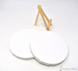 2pcs Mini Round Shaped Artist Blank Canvas Frame 6inch ( 15cm ) Oil Water Painting Board Flat Canvas with 1pc Mini Wood Display Easel - Raylinedo