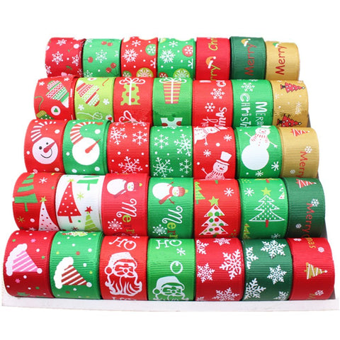 Christmas Style 35 x 1 Meter Mixed Color/Size Grosgrain Ribbon Printed Ribbon Ideal for Gift Wrap and Decoration - Raylinedo