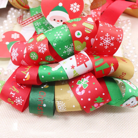 Christmas Style 50 x 1 Meter Mixed Color/Size Grosgrain Ribbon Satin Ribbon Snow Yarn Ribbon Printed Ribbon Ideal for Gift Wrap and Decoration - Raylinedo