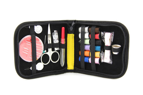 Craft DIY Sewing Kit With Zippered Enclosure for Travel,Home Includes Needles/Threaders/Mini Scissors/Safety Pin/Colored Thread Bobbins/Tape/Thimbles/Buttons In Black - Raylinedo