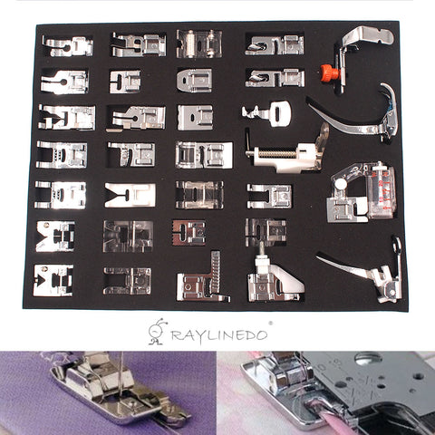 32Pcs Domestic Sewing Machine Presser Foot Feet Kit Set For Janome Brother Singer Domestic Part - Raylinedo