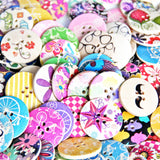 25pcs Designeddesigned Super Fantastic Round Shaped Painted 4 Hole Wooden Buttons 30mm*30mm - Raylinedo