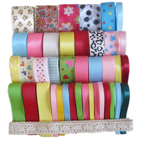 41x1Yard Mixed Style/Size Solid Grosgrain Ribbon Satin Ribbon Snow Yarn Ribbon Printed Ribbon Cotton Lace Ribbon in Candy Color Series - Raylinedo