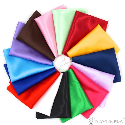 15pcs 25*20cm Silky Satin Patchwork Fabric Bundle Quilting Wedding Table Decor in 15 Solid Color - Raylinedo