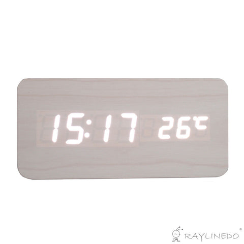 Latest Design Fashion USB/AAA White Wood White LED Light Wooden Digital Alarm Clock -Time Temperature Date Display - Voice and Touch Activated - Raylinedo