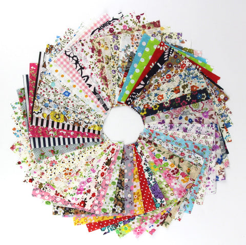 100X Bundle of 10cm X 10cm Different Pattern Stripe Dot Flowers Cotton Patchwork Fabric Bundle Squares Quilting Scrapbooking Sewing Artcraft Bag Handbag Making Project Fabric-Thin Fabric - Raylinedo