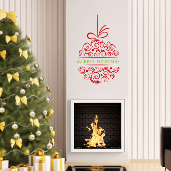 Merry Christmas Red&Green Color Wall Sticker Wall Decoration Wall Art Designed Xmas24 - Raylinedo