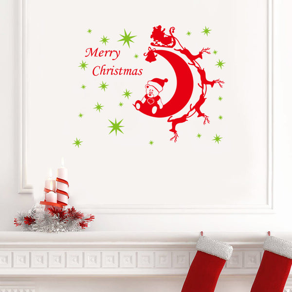 Merry Christmas Red&Green Color Wall Sticker Wall Decoration Wall Art Designed Xmas29 - Raylinedo