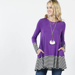 Striped Color Block Side Pocket Purple