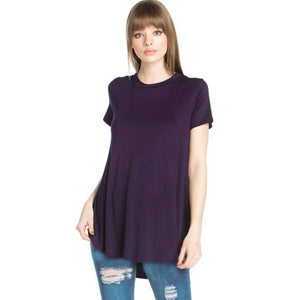 Loose Cut Short Sleeve Eggplant 2278 AZ