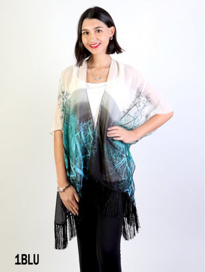 Sheer Kimono with Branches Cardigan - blue