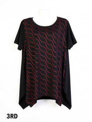 Short Sleeve Wave Pattern One Size - Red
