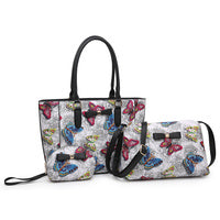 Black/White with Butterflies Purse & Pouch FW - Purse & Pouch Only