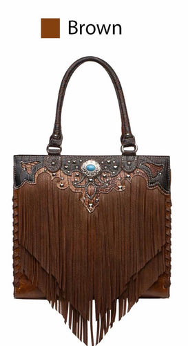Brown large fringe western