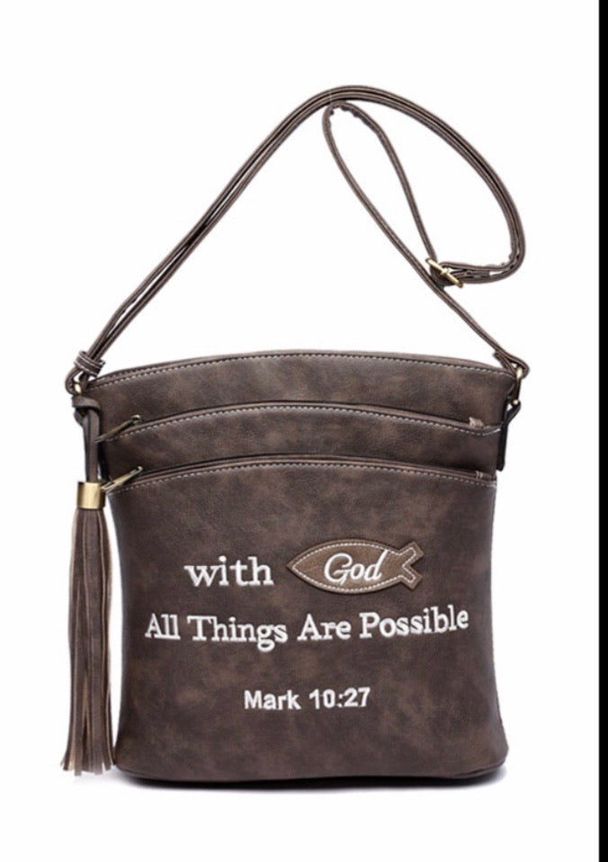 Mark 10:27 taupe messenger purse