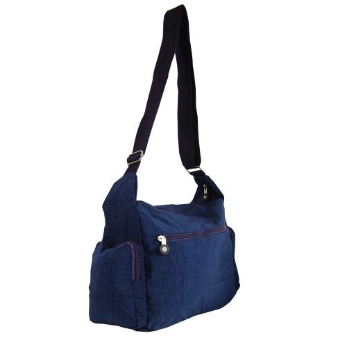 Blue nylon messenger with side pouches HJ505