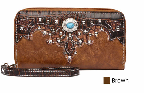 Brown wallet to match large fringe purse