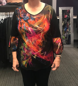 Flame top with bell sleeves
