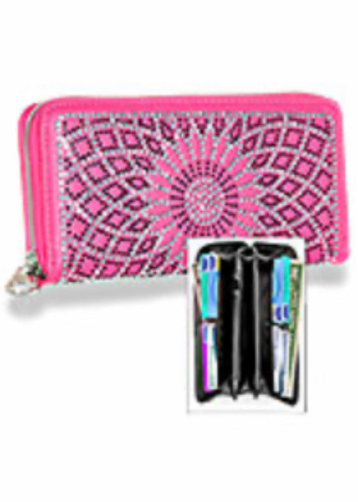 Hot pink web bling wallet