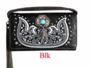 Black wallet with turquoise stone and metal feathers