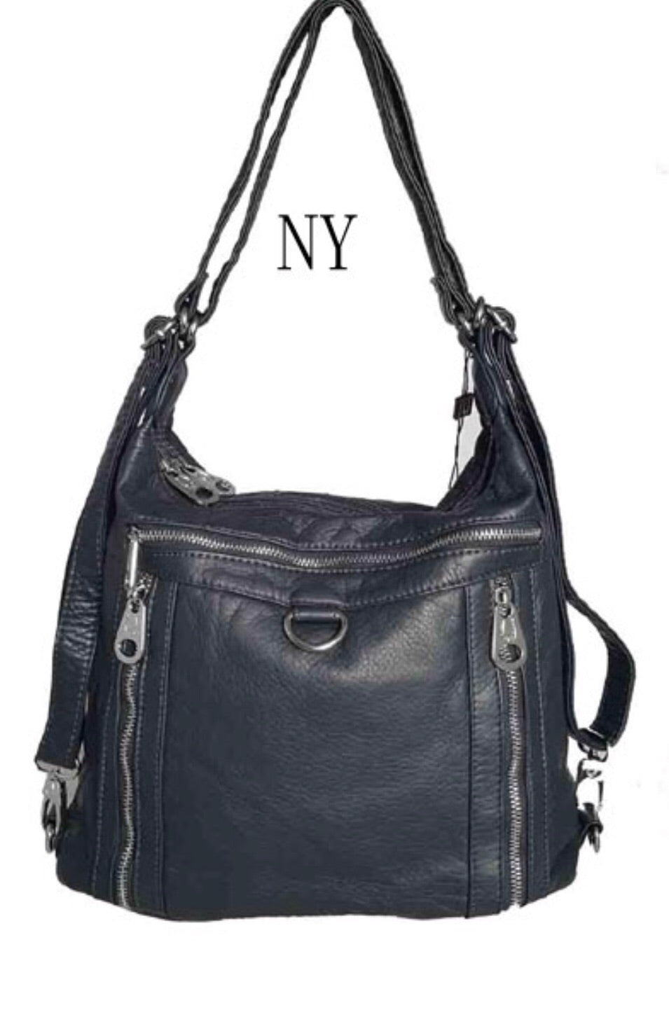 Navy 3 in 1 with metal loop backpack purse