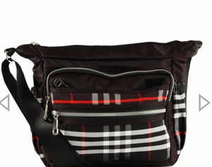 Black plaid fabric messenger