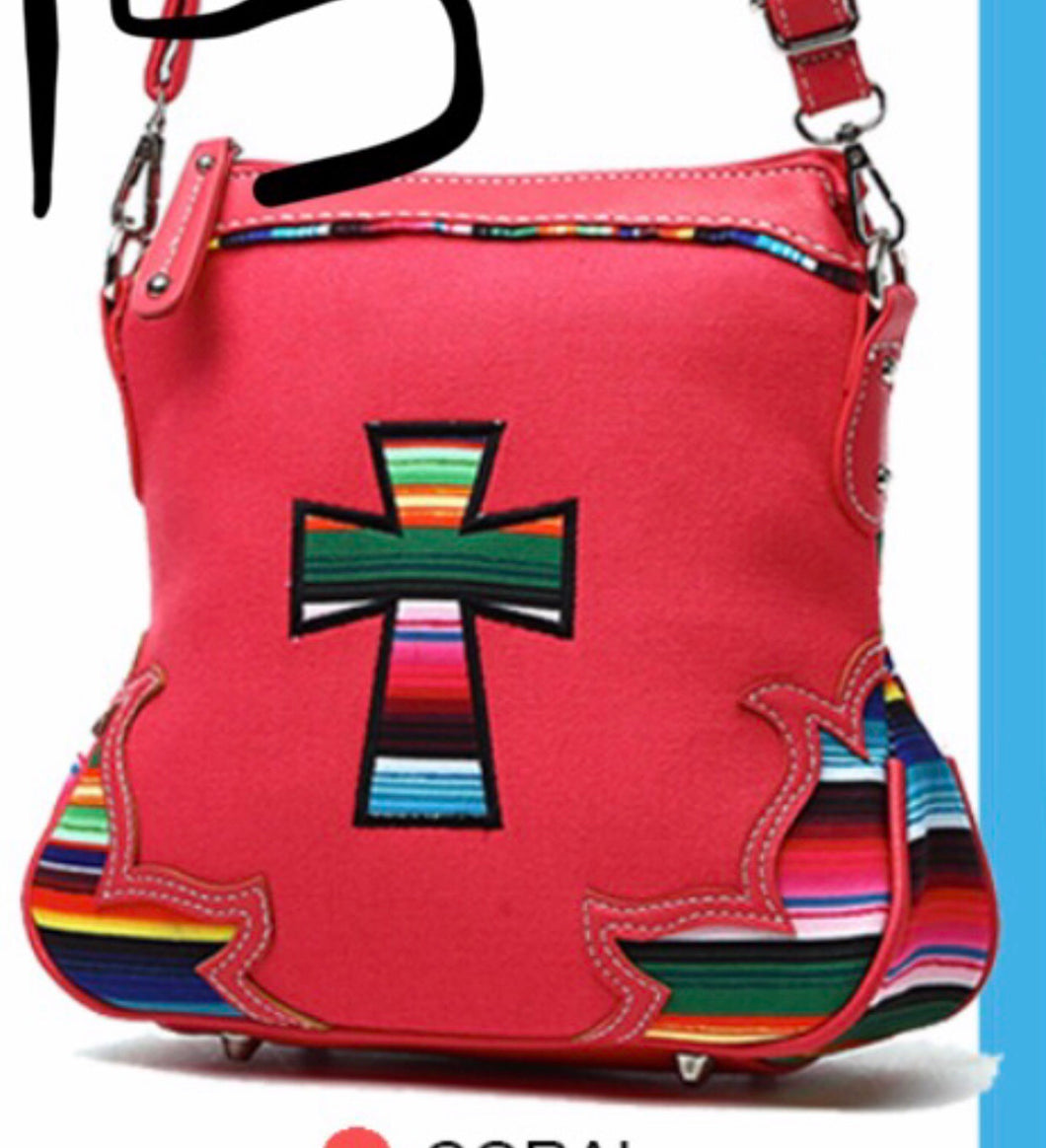 Pink cross cloth messenger with Navajo