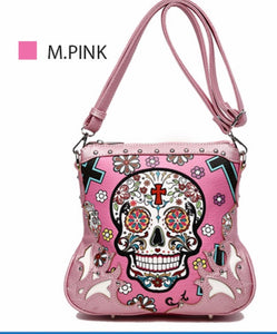 Pink sugar skull messenger with cross